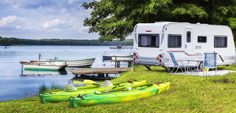 Camper By Lake